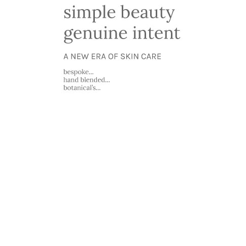 graphic text organic skin care for simple beauty with genuine intent