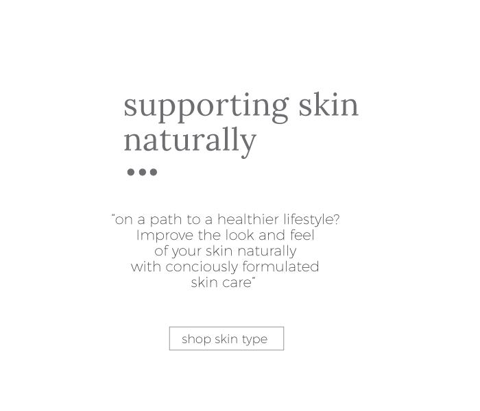 text supporting skin with organic skin care