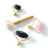 rose quartz facial roller gold handle